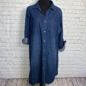 J.Jill Button Front Stretch Denim Dress